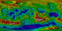 This color-coded topography map from NASA's Dawn mission shows the giant asteroid Vesta in an equirectangular projection at 32 pixels per degree, relative to an ellipsoid of 177 miles by 177 miles by 142 miles.