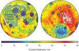 Global map of crustal thickness of the moon derived from gravity data obtained by NASA's GRAIL spacecraft. The lunar near side is represented on the left hemisphere. The far side is represented in the right hemisphere.