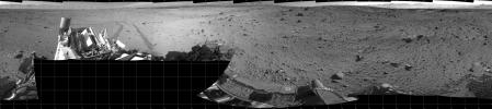 The view from NASA's Mars rover Curiosity covers a full 360 degrees, centered toward the south, with north at both the left and right ends. Nearer the horizon is a sand dune at a location called 'Dingo Gap'.