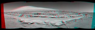 A stereo landscape scene from NASA's Curiosity Mars rover shows rock rows at 'Junda' forming striations in the foreground, with Mount Sharp on the horizon. You need 3D glasses to view this image.