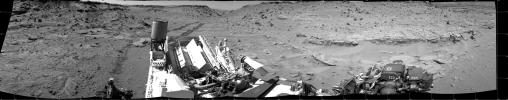This panorama combining images taken on Feb. 10, 2014, by NASA's Curiosity Mars rover looks back to where the rover crossed a dune at 'Dingo Gap' four days earlier. The view is centered toward the east and spans about 225 degrees.