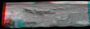 NASA's Curiosity Mars rover used its Navigation Camera (Navcam) on April 11, 2014, to record this stereo scene of a butte called 'Mount Remarkable' and surrounding outcrops. You need 3-D glasses to view this image.