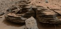 This view from the NASA's Curiosity Mars rover shows an example of cross-bedding that results from water passing over a loose bed of sediment. It was taken at a target called 'Whale Rock' within the 'Pahrump Hills' outcrop at the base of Mount Sharp.