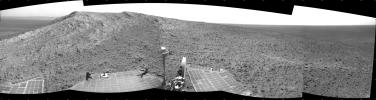 NASA's Mars Exploration Rover Opportunity recorded this view of the summit of 'Cape Tribulation,' on the western rim of Endeavour Crater on the day before the rover drove to the top.