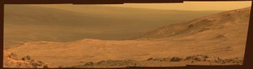 This view from NASA's Mars Exploration Rover Opportunity shows part of 'Marathon Valley,' a destination on the western rim of Endeavour Crater, as seen from an overlook north of the valley.