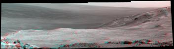 This 3-D stereo scene from NASA's Mars Exploration Rover Opportunity shows part of 'Marathon Valley,' a destination on the western rim of Endeavour Crater, as seen from an overlook north of the valley.