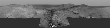 Cumulative driving by NASA's Mars Exploration Rover Opportunity surpassed marathon distance on March 24, 2015, as the rover neared a destination called 'Marathon Valley,' which is middle ground of this dramatic view from early March.