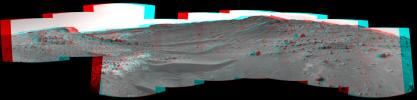 This stereo view from the Navigation Camera (Navcam) on NASA's Curiosity Mars rover shows the terrain ahead of the rover as it makes its way westward through a valley called 'Artist's Drive.' 3-D glasses are need to view this image.