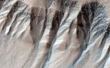 Gullies are often found on steep slopes. In the winter, this area is covered with a layer of carbon dioxide ice (dry ice). In the spring, when the ice warms up and transitions to gas, as seen by NASA's Mars Reconnaissance Rover.