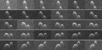 This collage of radar images of near-Earth asteroid 1999 JD6 was collected by NASA scientists on July 25, 2015. The asteroid is between 660-980 feet (200-300 meters) in diameter.