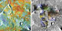 Researchers estimating the amount of carbon held in the ground at the largest known carbonate-containing deposit on Mars utilized data including physical properties from THEMIS (left) and mineral information from CRISM (right).