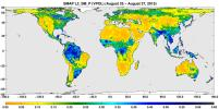 A three-day composite global map of surface soil moisture as retrieved from NASA's SMAP's radiometer instrument between Aug. 25-27, 2015. Dry areas appear yellow/orange, such as the Sahara Desert, western Australia and the western U.S.