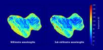 Subsurface temperature maps of 67P/Churyumov-Gerasimenko, showing the southern hemisphere of the comet. The maps are based on observations obtained with ESA's MIRO instrument.