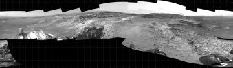 This 360-degree panorama shows the 'Marias Pass' area, at center, and part of the slope that NASA's Curiosity Mars rover climbed to get there, at right.