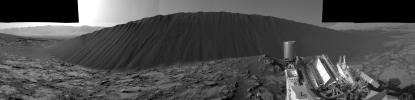 This view from NASA's Curiosity Mars Rover, taken on Dec. 17, 2015, shows the downwind side of a dune about 13 feet high within the Bagnold Dunes field on Mars. As on Earth, the downwind side of an active sand dune has a steep slope called a slip face.