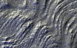 This image captured by NASA's Mars Reconnaissance Orbiter spacecraft has low-sun lighting that accentuates the many transverse ridges on this slope, extending from Euripus Mons (mountains).