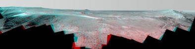 A ridge called 'Rocheport' on the western rim of Mars' Endeavour Crater spans this stereo scene from the Pancam on NASA's Mars Exploration Rover Opportunity.