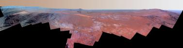 A ridge called 'Rocheport' on the western rim of Mars' Endeavour Crater spans this mosaic of images from the Pancam on NASA's Mars Exploration Rover Opportunity. Enhanced color to make differences in surface materials more easily visible.
