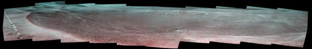 This stereo view of a small, relatively fresh crater on Mars combines images from NASA's Opportunity Mars rover. The rover paused beside the crater in April 2017, during the 45th anniversary of the Apollo 16 mission to the moon.