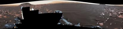 A rippled linear dune of dark Martian sand, 'Nathan Bridges Dune,' dominates this full-circle panorama from NASA's Curiosity Mars rover.