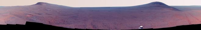 This color-enhanced June 2017 view from the Pancam on NASA's Opportunity Mars rover shows the area just above 'Perseverance Valley' on the western rim of Endeavour Crater.