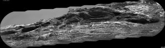This view of 'Vera Rubin Ridge' from the ChemCam instrument on NASA's Curiosity Mars rover shows sedimentary layers, mineral veins and effects of wind erosion.
