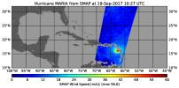 The radiometer instrument on NASA's Soil Moisture Active Passive (SMAP) spacecraft captured this image of Hurricane Maria at 6:27 a.m. EDT on Sept. 19, 2017 (10:27 UTC), showing an estimated maximum surface wind speed of 126.6 miles per hour.