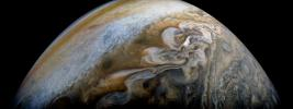 Swirling cloud formations are seen in the northern area of Jupiter's north temperate belt in this view taken by NASA's Juno spacecraft taken on Feb. 7, 2018.