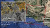 The ARIA team at NASA's JPL created this Damage Proxy Map depicting areas in Southern California that are likely damaged (shown by red and yellow pixels) as a result of recent wildfires, including the Thomas Fire in Ventura and Santa Barbara Counties.