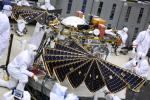 The solar arrays on NASA's InSight Mars lander were deployed as part of testing conducted Jan. 23, 2018, at Lockheed Martin Space in Littleton, Colorado.