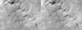 These two frames were taken of the same place on Mars by the same orbiting camera onboard NASA's Mars Reconnaissance Orbiter before (left) and after some images from the camera began showing unexpected blur.