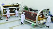 The GRACE-FO satellites were assembled by Airbus Defence and Space in Germany. This photo shows the satellites in the testing facility of IABG, an Airbus subcontractor, in Munich, Germany.