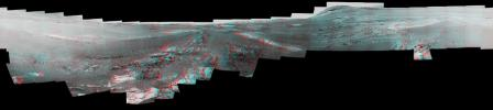 This image is an anaglyph version of the last 360-degree panorama taken by the Opportunity rover's Pancam from May 13 through June 10, 2018. The panorama appears in 3D when seen through blue-red glasses with the red lens on the left.
