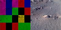 These side-by-side images were taken by the Pan Camera (Pancam) on NASA's Opportunity rover. They're actually the same image; the left version is how the image originally came down. The right shows the same image after processing all the data.
