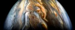 The JunoCam imager aboard NASA's Juno spacecraft captured this image of Jupiter's southern equatorial region on Sept. 1, 2017.