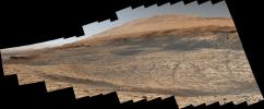 Stitched together from 116 images, this view captured by NASA's Curiosity Mars rover shows the path it will take in the summer of 2020 as it drives toward the next region it will be investigating, the sulfate-bearing unit.