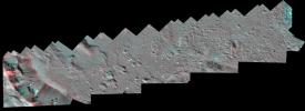 This Dawn stereo anaglyph of Occator Crater on Ceres shows impact melt deposits in the southeastern part of the 57-mile (92-kilometer) diameter crater.