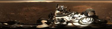 This is the first 360-degree panorama taken by Mastcam-Z, a zoomable pair of cameras aboard NASA's Perseverance Mars rover. The panorama was stitched together from 142 individual images taken on February 21, 2021.